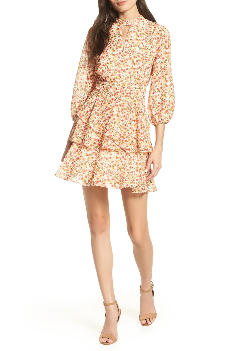 Lenon Floral Print Balloon Sleeve Dress
