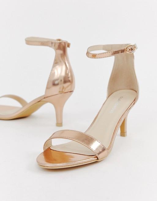 ASOS Glamorous Rose Gold Kitten Heel Sandals