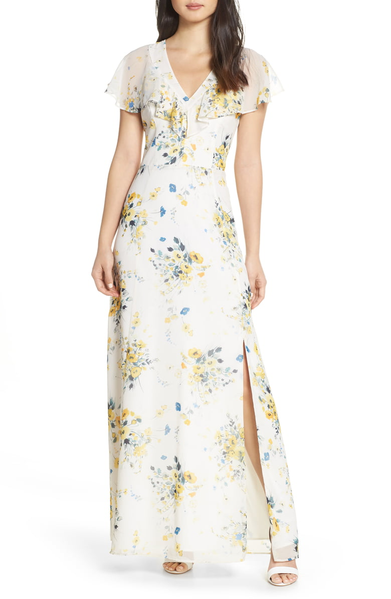 Adelyn Rae Ruffle Yoke Maxi Dress