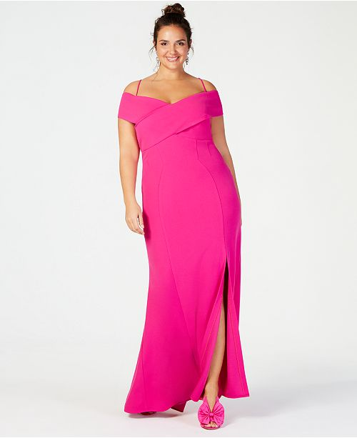 Nightway Plus-Size Portrait-Collar Scuba Gown