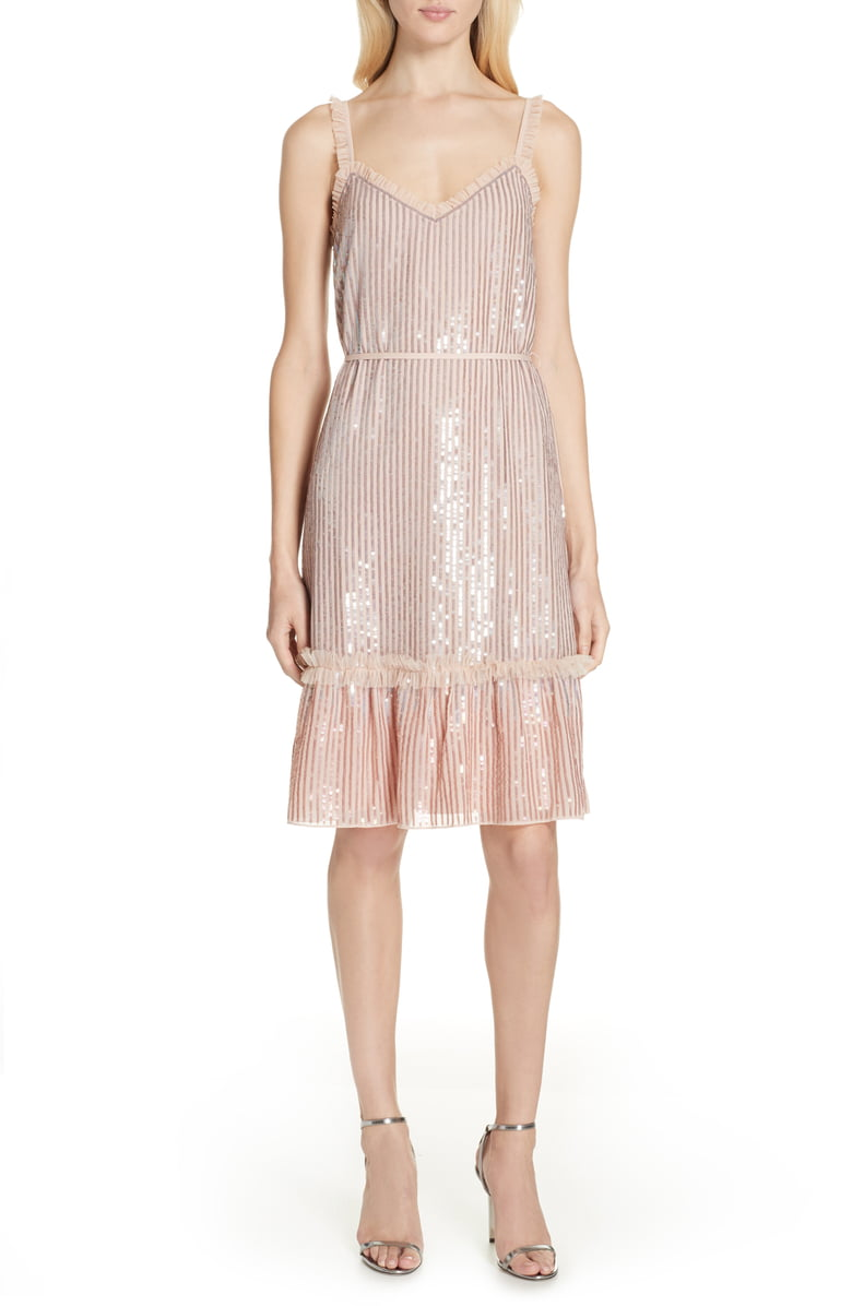 Thread Gloss Sequin Ruffle Dress
