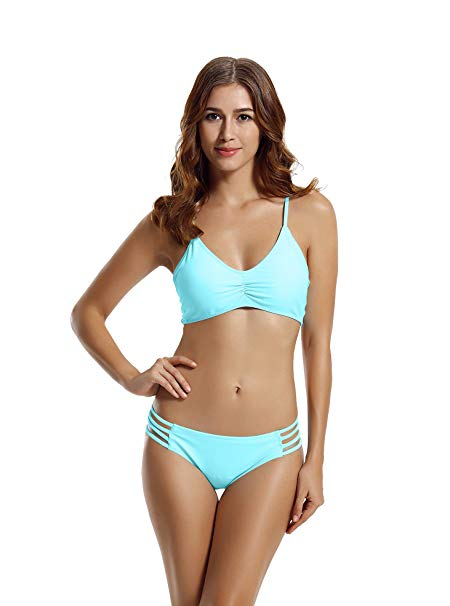 Best Swimsuit for Slender Women: Seraca Women's Strap Side Bottom Halter Racerback Bikini Bathing Suits