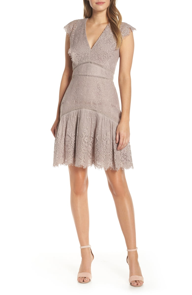 Adelyn Rae Shel Cap Sleeve Eyelash Lace Dress in Mauve