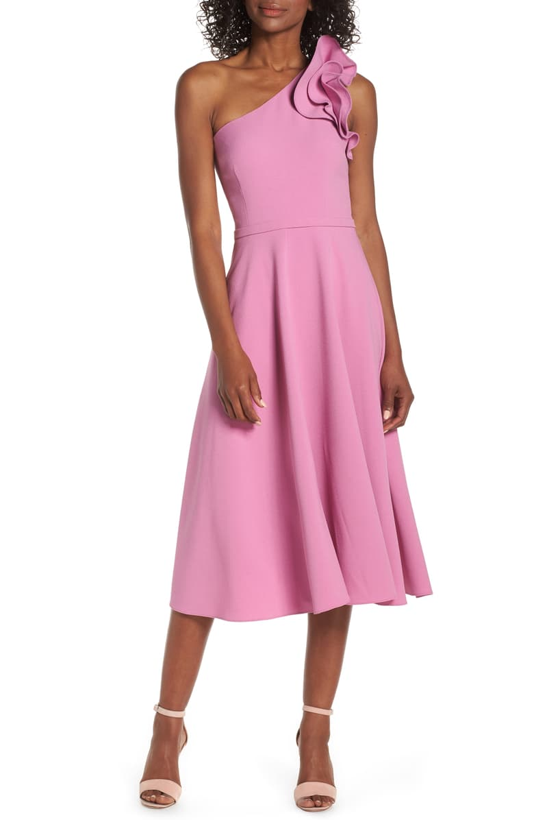 Eliza J Ruffle One-Shoulder Fit & Flare Dress