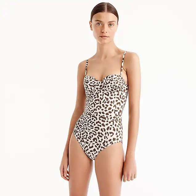 Best Swimsuit for Extra Lift: J. Crew Underwire One-Piece Swimsuit in Leopard