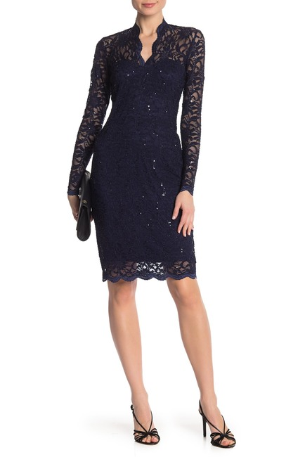 Marina Scalloped Sequin Lace Dress