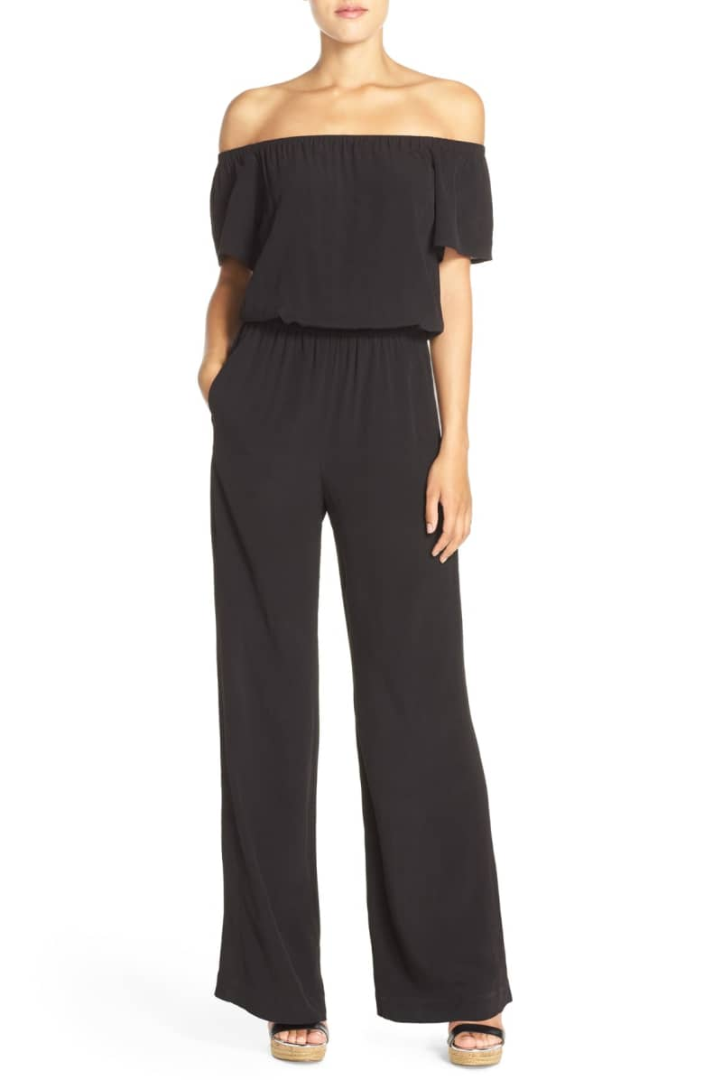 Charles Henry Off-the-Shoulder Wide-Leg Jumpsuit