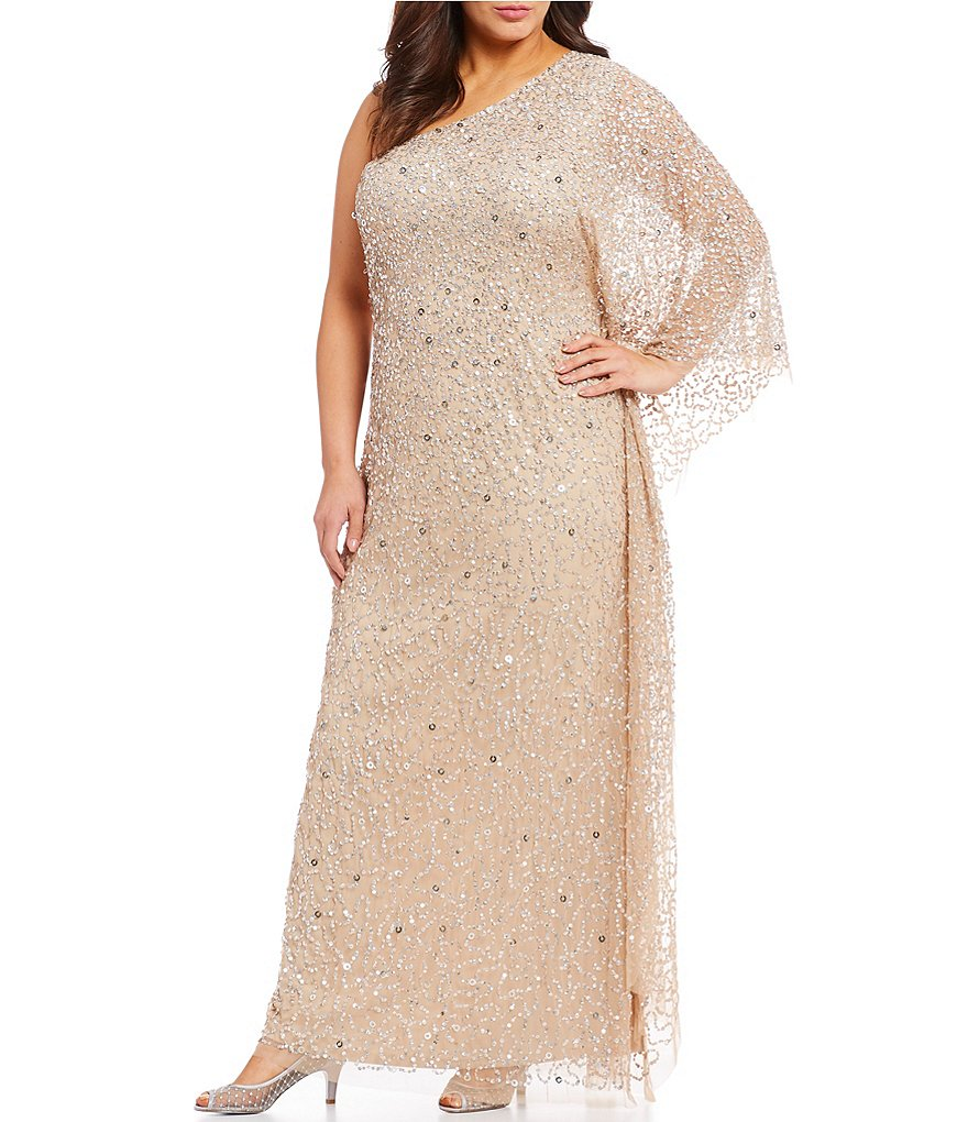 Adrianna Papell Plus-Size One-Shoulder Long-Sleeved Beaded Gown