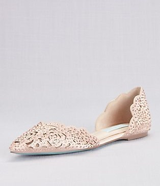 Blue by Betsey Johnson Embellished Floral Cutout d'Orsay Flats