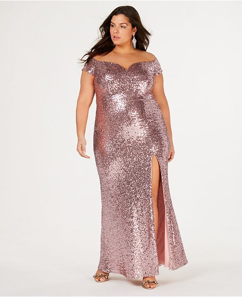 B Darlin Trendy Plus-Size Off-The-Shoulder Sequin Gown