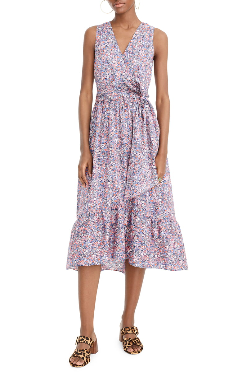 J.Crew Liberty Kayoko Floral Sleeveless Faux Wrap Dress