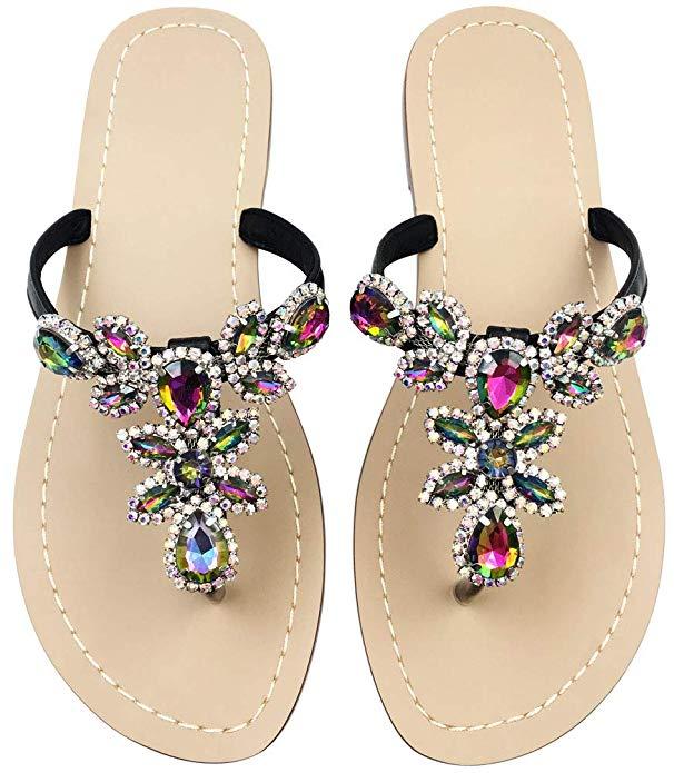 Hinyyrin Rhinestone Sandals