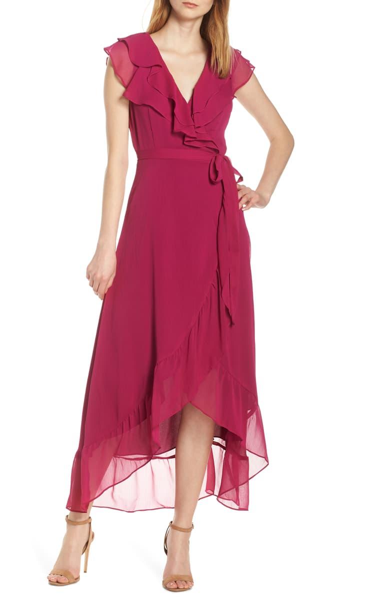Charles Henry Ruffle Wrap Midi Dress