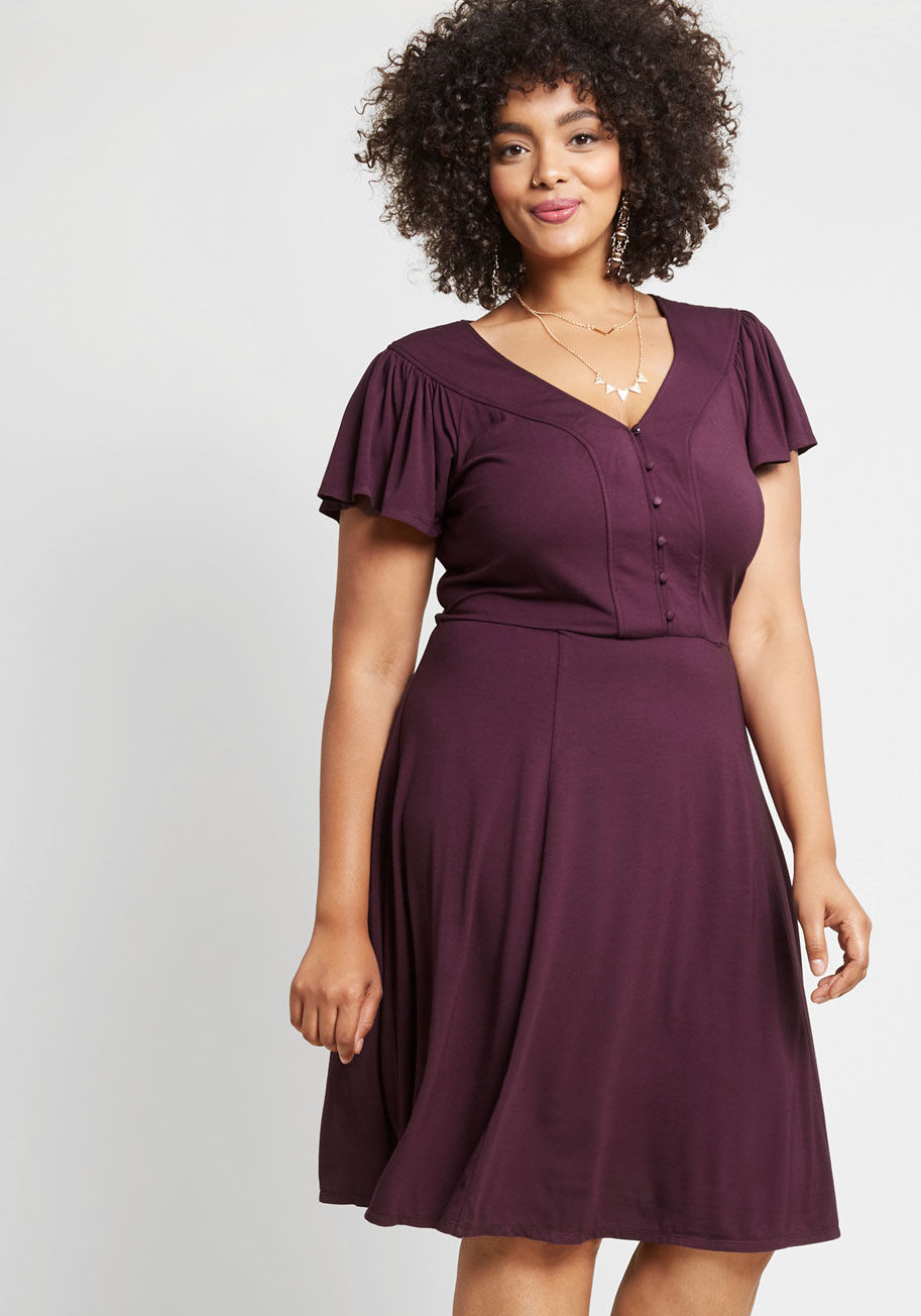 Recommended Ruffles Knit Dress in Purple