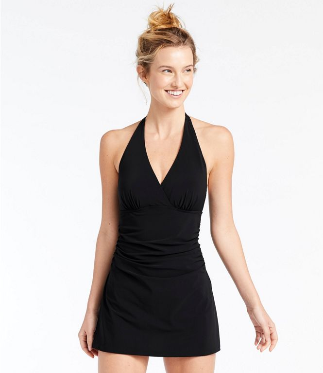 Best Slimming Swimsuit: LL BEAN Clasp Halter Dress