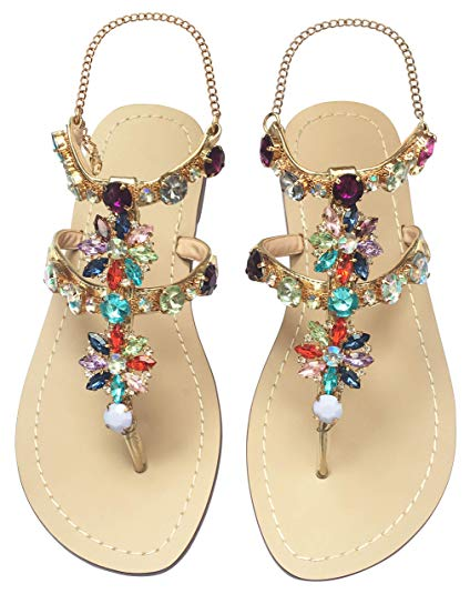 JF shoes Women's Crystal Rhinestone Bohemia Sandals