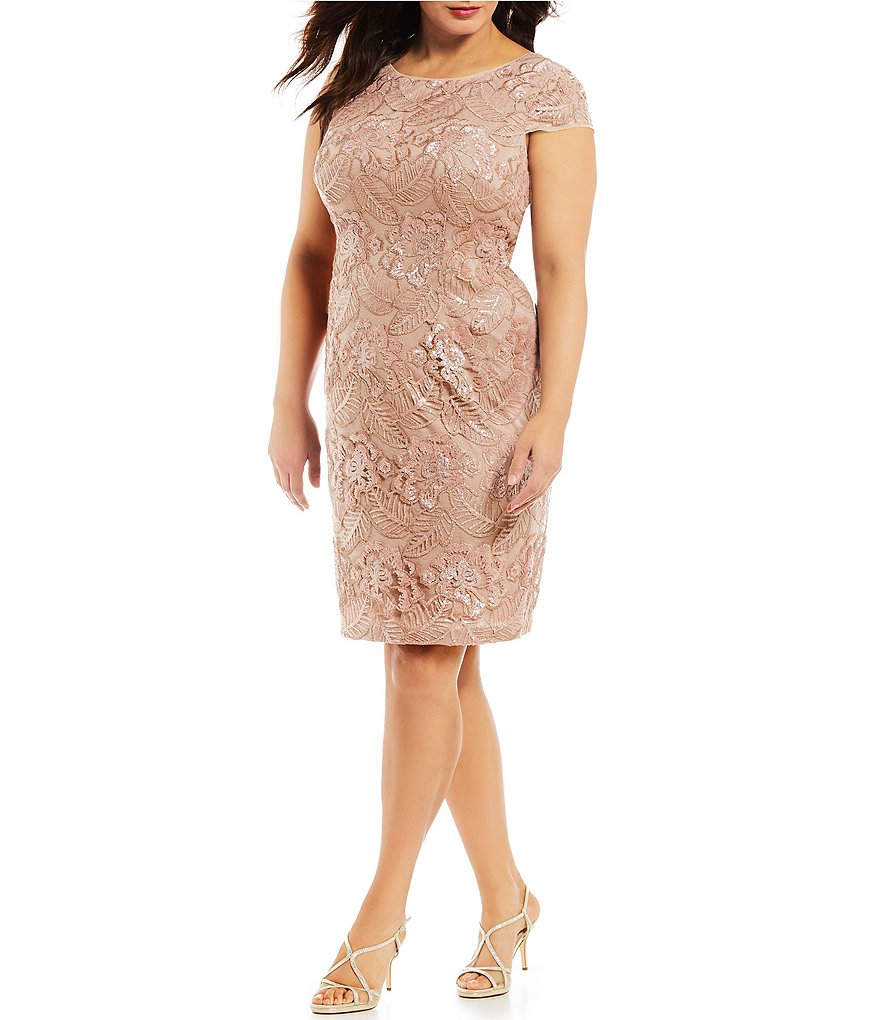 Alex Evenings Plus-Size Cap Sleeve Floral Embroidered Sequin Dress