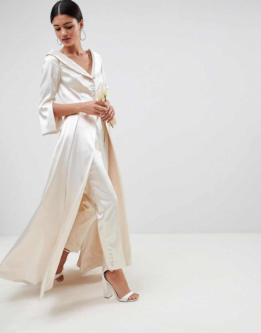 ASOS Edition Wedding Satin Off the Shoulder Full Length Jacket and Tapered