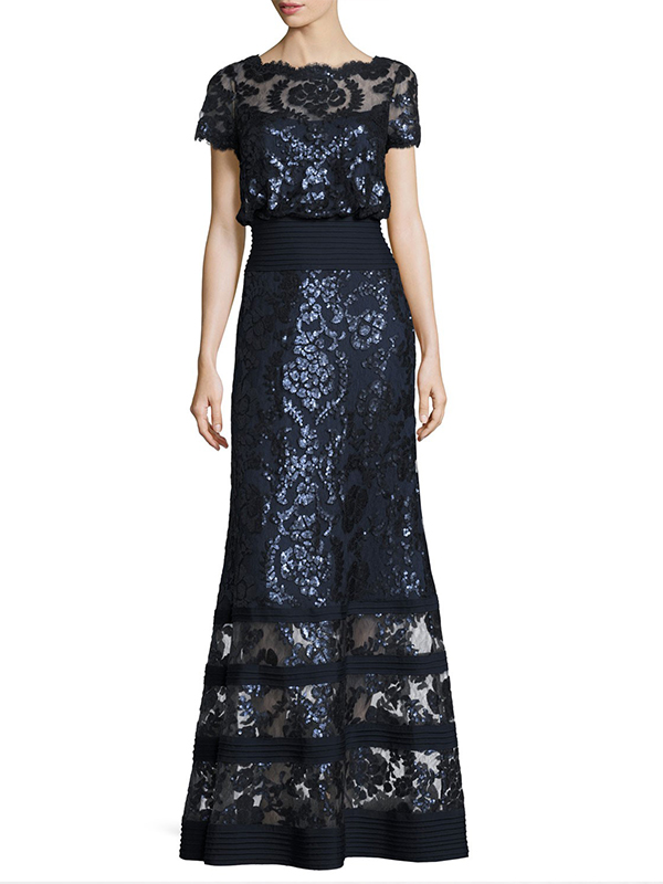 Embellished Tulle Blouson Gown