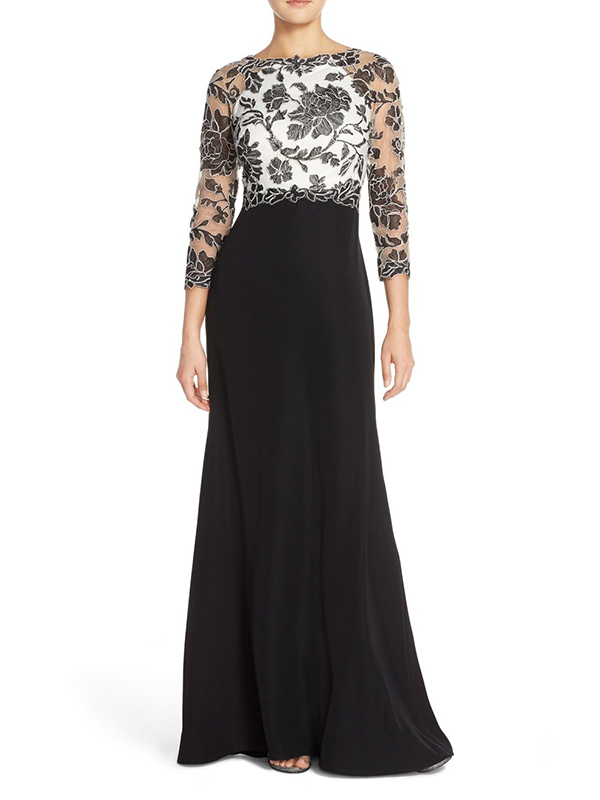 Black Embroidered Lace Gown