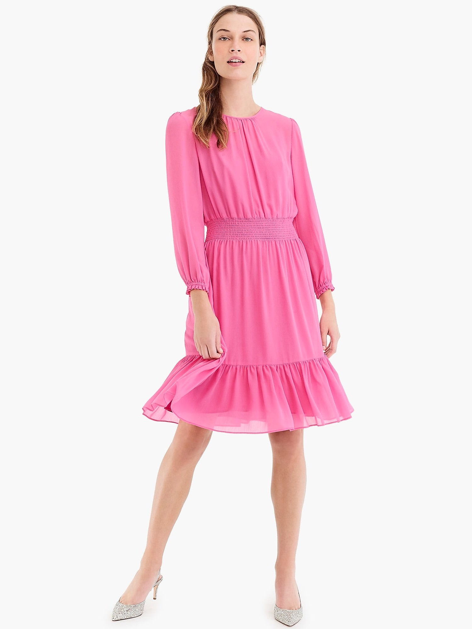 J.Crew Cinched-Waist Dress in Chiffon