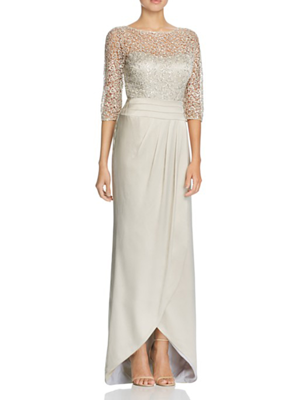 Embroidered Lace & Satin Gown