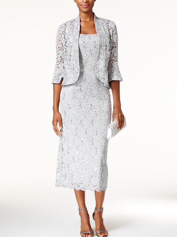 Sequined Lace Midi Dress & Jacket