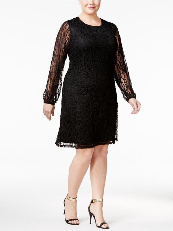 Plus-Size Lace Peasant Dress