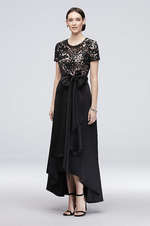 RM Richards Stretch Satin High-Low A-Line Dress with Sequins