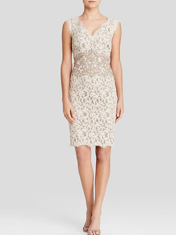 V-Neck Color Block Lace Dress