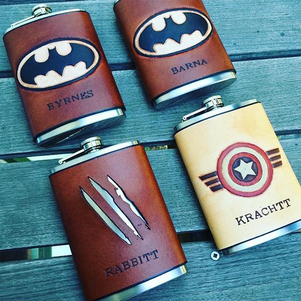 SuperheroWeddingLeatherFlasks