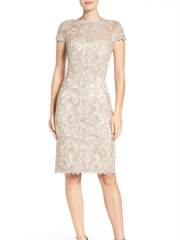 Yoke Lace Sheath Dress