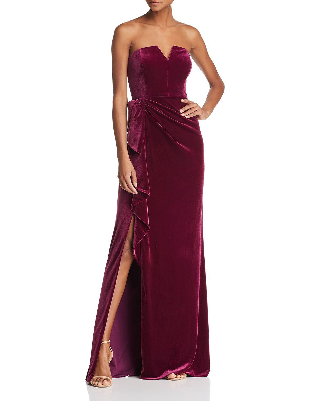 Aidan Mattox Strapless Velvet Gown