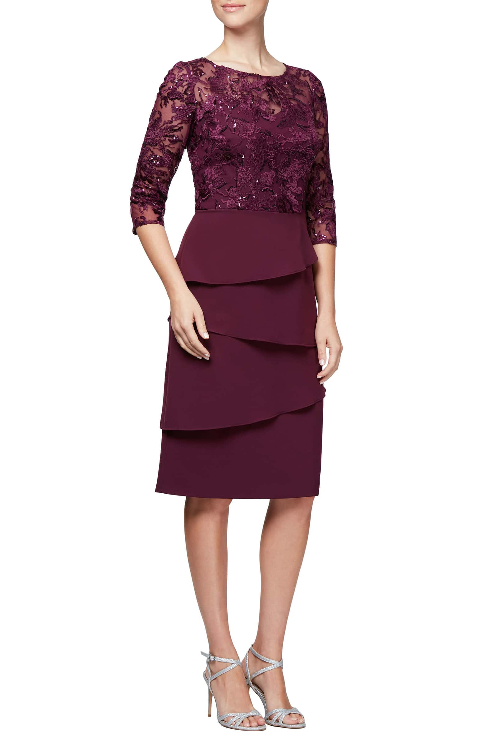 Alex Evenings Embroidered Sequin Sheath Dress