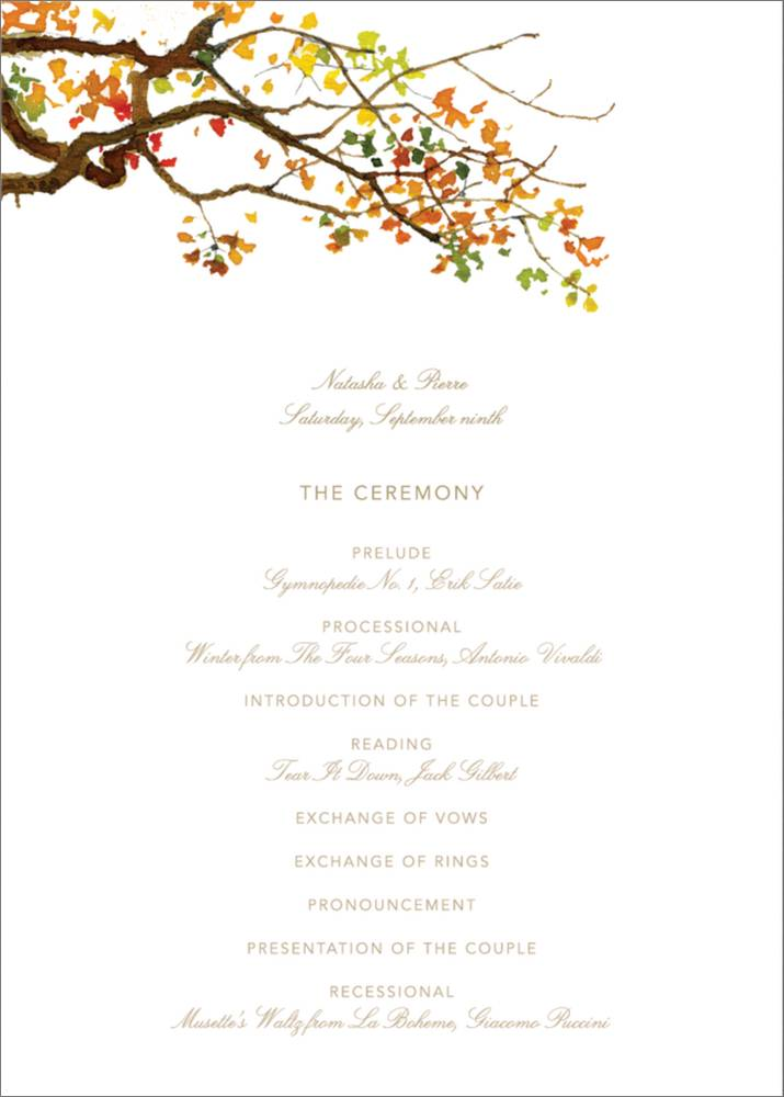 Rustic Wedding Program Little Trees