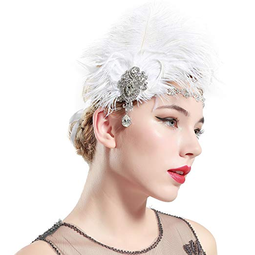 Babeyond 1920s Ostrich Feather Crystal Headband
