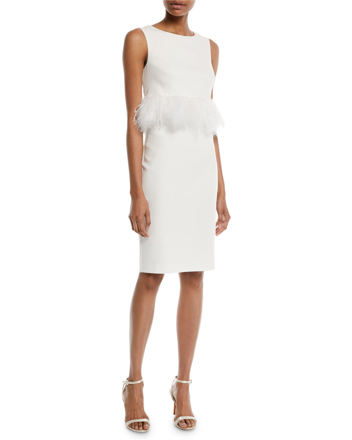 Badgley Mischka Collection Sleeveless Sheath Cocktail Dress w/ Popover Feathers