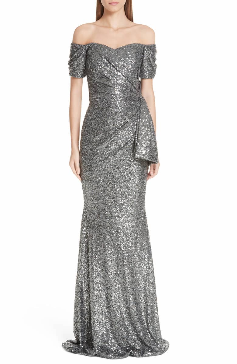 Badgley Mischka Platinum Bow Detail Sequin Off the Shoulder Gown