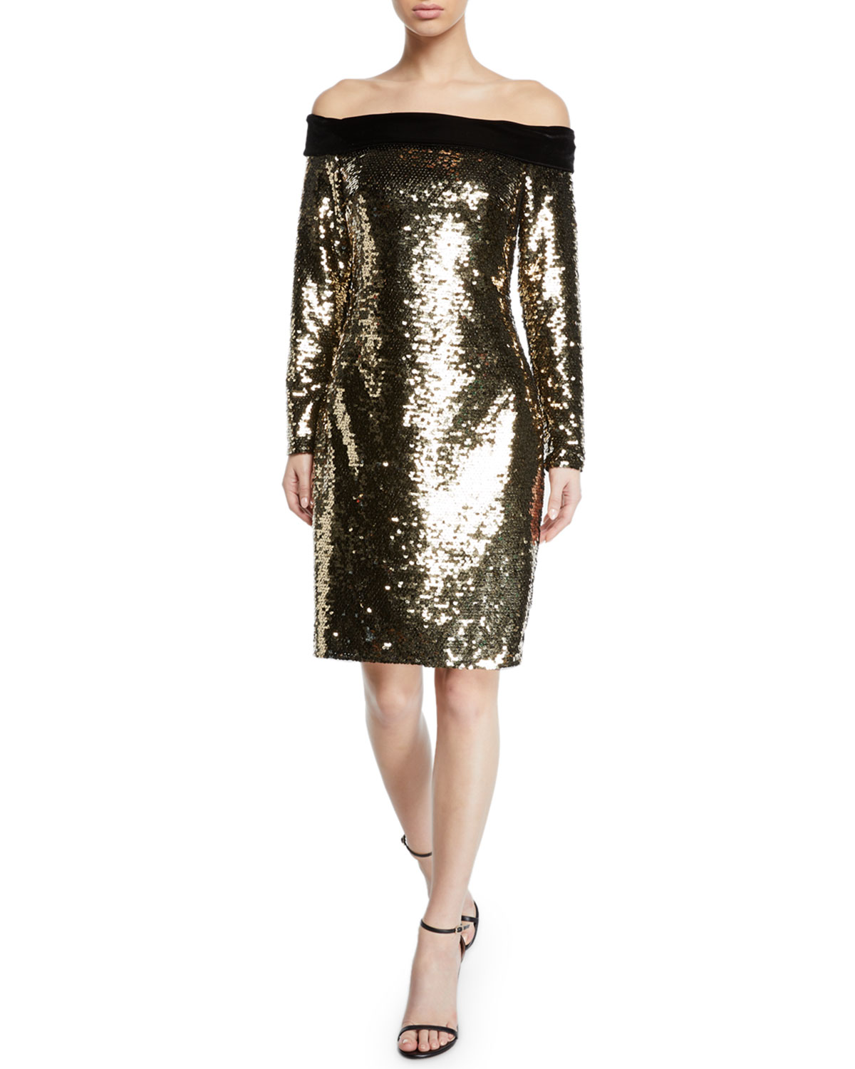 Badgley Mischka Collection Off-the-Shoulder Velvet-Trim Sequin Cocktail Dress