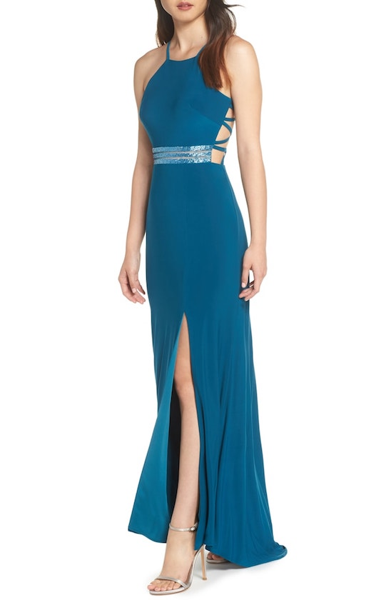 Beaded Mesh Halter Gown by Morgan & Co.