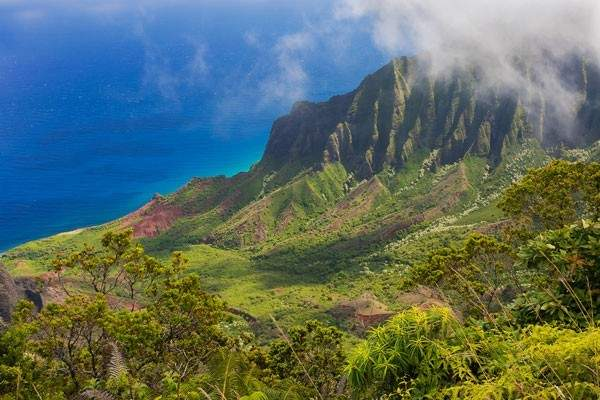 Romantic view from hike in Waimea Canyon on the island of Kauai, Hawaii