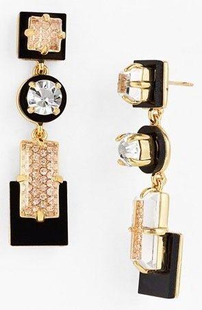'Imperial Tile' linear drop earrings