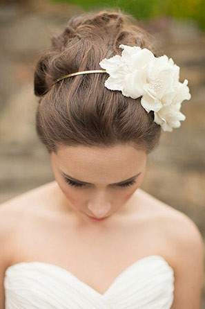 Curly Updo with Bridal Headband