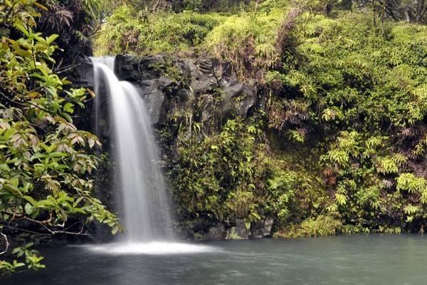 Waterfall along Hana Highway in Maui