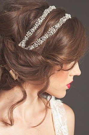 Curly Hair Updo with Bridal Headband