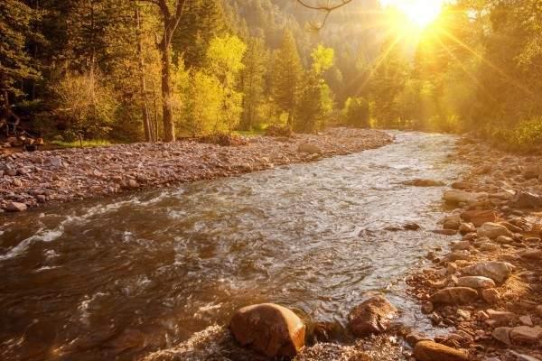 water rushing down rocks in Boulder, Colorado