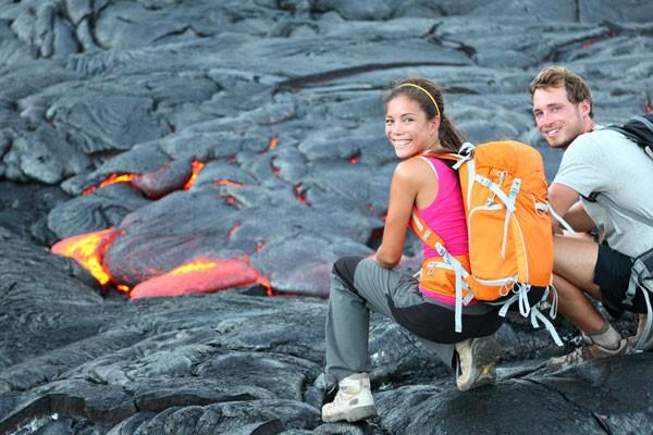 Couple hiking near volcano on the Big Island