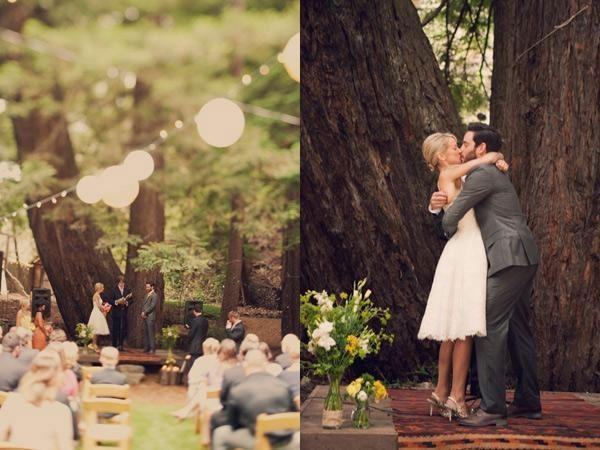 wedding ceremony in Redwood Forest in Big Sur, CA kissing