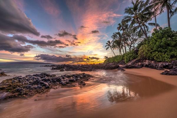 Beach sunset in Lanai island in Hawaii