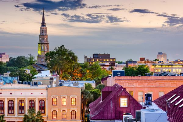 Dusk colorful city skyline in Charleston, SC